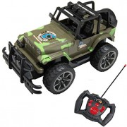 1:15 Scale Kid's Full Function Remote Controlled Army Green Camouflage Jeep R/C Vehicle Toy Car with Working Headlights