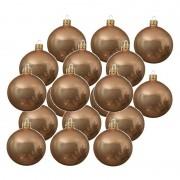 Merkloos 18x Donker parel/champagne glazen kerstballen 6 cm glans