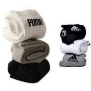 Puma Adidas Multicolour Cotton Ankle Length Socks - 3-3 Pairs