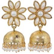 Maayra Women Earrings Wedding Festival Copper Jhumki White Elegant Flower Jewellery