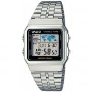 Relógio Casio Vintage World Time Prata Unissex A500WA-1DF