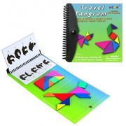 Tangram Game Travel Games Magnetic 176 Puzzle Travel Tangrams with Question Solution Answer Kid Adult Challenge IQ Book Colorful Educational Toy For 3-100 Years Old (2 set of Tangrams Green Version)