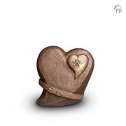 Dieren-urn van keramiek: Hart-in-Hart met halsband (1000ml)