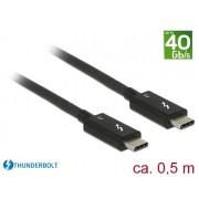 DeLock Thunderbolt 3 (40 Gb/s) USB-C cable male > male passive 0,5 m 5A Black 84844