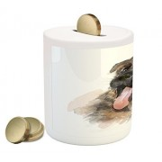Lunarable German Shepherd Coin Box Bank, Portrait of a Pure Breed Puppy with a Happy Expression, Printed Ceramic Coin Bank Money Box for Cash Saving, Taupe Pale Pink Pale Brown