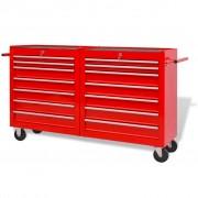 vidaXL Стоманена количка за инструменти с 14 чекмеджета, XXL, червена