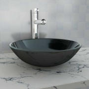 vidaXL Umivaonik Kaljeno Staklo 42 cm Crni