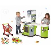 Smoby set bucătărie de jucărie CookMaster Verte, Écoiffier casă de marcat, cărucior pentru cumpărături, alimente 311102-25