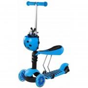 Scooter Monopatín 3 En 1 con luces Mariquita y Asiento – Azul
