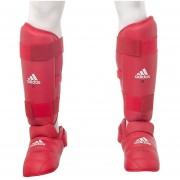 Espinillera Con Empeinera Para Karate Adidas WKF 6617 Rojo