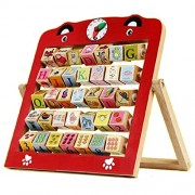 LittleHamlet Learning Wooden Alphabet Abacus Teaching Frame Educational Toy for Kids with 360 deg Rotating Letters & Cognitive Letters
