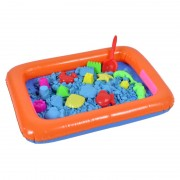 Set Joaca Piscina Gonflabila cu Nisip Kinetic si Forme pentru Copii, Nisip Albastru