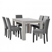 PremiumXL - [en.casa] Elegantan blagovaonski set - stol(hrast/bijela) + 6 stolica (svijetlo siva)