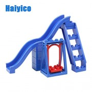 Generic Park Swing Slide Pipeline Playground Carrousel Big Building Blocks Assemble Children Toys Bricks Gift Compatible with Duplo Sets 4pcs Playground A3