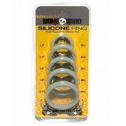 Boneyard [5 Pack] Silicone Stretch Cock Ring Kit Grey BY0200