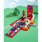 PORTABLE FIRE STATION FIRE TRUCK PLAY SET