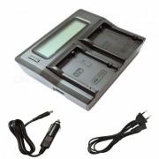 Ismartdigi LPE8 LCD cargador de bateria de doble ranura para Canon LP-E8 - negro