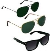 SPY RAYS COLLECTION Aviator, Aviator, Wayfarer Sunglasses(Green, Green, Black)