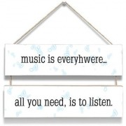 100yellow Music Is Everywhere Wall Door Hanging Board Plaque Sign For Wall Dcor (7 X 12 Inch)