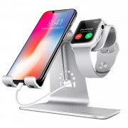 BESTAND 2-in-1 Apple Watch Charging Stand Holder and Phone Desktop Tablet Dock for iPhone X/8 Plus/8/7 Plus - Silver