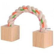 Bavlněná činka s dřevěnými špalíky - délka: 20 cm