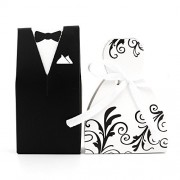 DIYI Double-Breasted Bride and Groom Wedding Gift Paper Boxes (50 & 50 Groom) Gift-Box (Black Flower Vine Design)