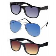 Debonair Combo Pack of 3 UV Protected Wayfarer Aviator Sunglasses For Boys Girls