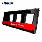 Rama intrerupator cu touch simplu+priza tripla LIVOLO din sticla Negru