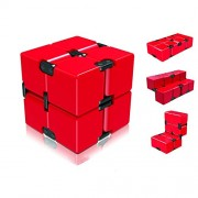 Infinity Cube Fidget Toy, Light Luxury EDC Fidgeting Infiniti Cube Game for Kids and Adults, Mini Classic Cube Spinner Best for Anti Stress and Anxiety Relief-Red