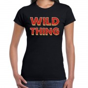 Bellatio Decorations Wild Thing fun tekst t-shirt zwart met 3D effect voor dames