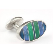 Mousie Bean Enamelled Cufflinks Symetrical Stripes 041 Blue & Green