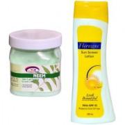 Florozone Sun Screen Lotion With SPF 25 Pink Root Neem Cream 500ml