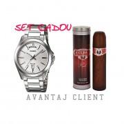 Set Cadou Barbatesc Casio MTP-1370d-7a1vdf & Parfum Cuba Red