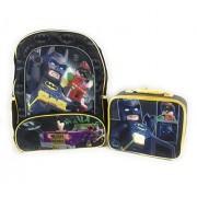 "Lego Batman Robin 16"" Backpack Insulated Lunchbox Joker Mesh Sides Reflective Strips Padded Shoulders 2 Piece Set"