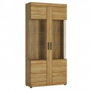 Cortina Tall wide 2 door glazed display cabinet in Grandson Oak Finish - Display Unit