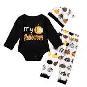 Allywit Newborn Infant Baby Girl Boy Pumpkin Romper Top+Pants+Hat Halloween Outfits Set (24M, Black)