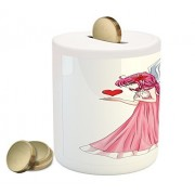 Anime Coin Box Bank by Ambesonne, Fairytale Character Angel in a Pink Dress Holding a Heart Romantic Valentines Day, Printed Ceramic Coin Bank Money Box for Cash Saving, Pink Red White