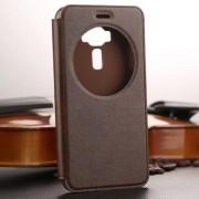 Notesz / flip tok - BARNA - oldalra nyíló ablakos flip cover, hívószámkijelző kivágás, asztali tartó funkció, szilikon belső - ASUS Zenfone 3 (ZE552KL)