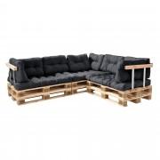 [en.casa]® Paletový nábytok - kompletná sada - tmavo sivá - model F