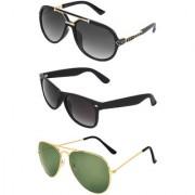 Zyaden Combo of 3 Sunglasses Rectangular Wayfarer & Aviator Sunglasses