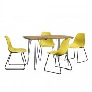 [en.casa]® Blagovaonski stol-efekat drveta + design stolice - set od 4 komada - senf žute- 83x46x52cm