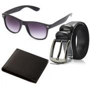 Random Mens Belt Wallet and Black Wayfarer Sunglass Combo