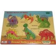 Safari Dinosaur Mothers and Babies Peek Inside Puzzle