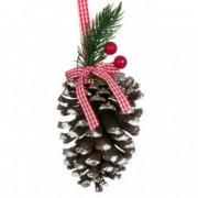 Ornament con macese rosii ramura verde brad craciun