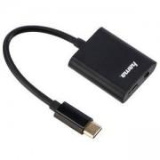 Адаптер и зарядно HAMA 2 в 1, USB-C - 3.5 мм аудио жак и USB-C, черен, HAMA-135748