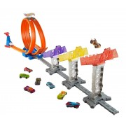 Hot Wheels double loop attack track set minicar play kit (DJC05)