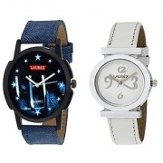 Laurex Blue Analog Leather Watches for Lovely Couple Combo-LX-031-LX-028