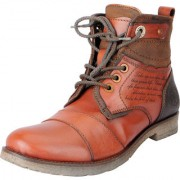 Fausto Men's Tan Leather High Ankle Outdoor Hiking Boots