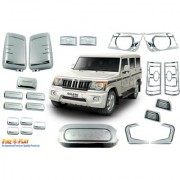 Car Chrome Accessories combo kit for Bolero T-4 by Fireplay. Full Exterior car accessories (long-lasting chrome 23Pcs)