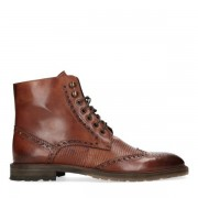 Black label Cognac veterboots met brogues detail